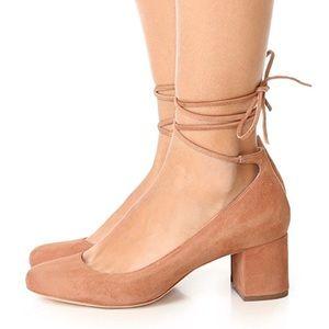 Loeffler Randall Clara Suede Ankle Wrap Heels 7.5